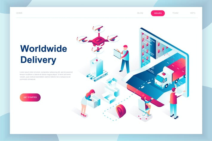 Thumbnail for Worldwide Delivery Isometric Landing Page
