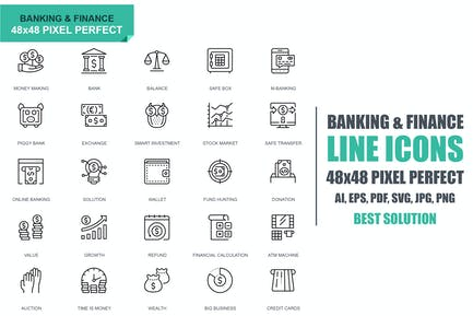 Simple Set Banking and Finance Line Icons