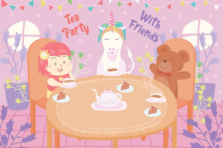 Thumbnail for Tea Party - Ilustración Vector