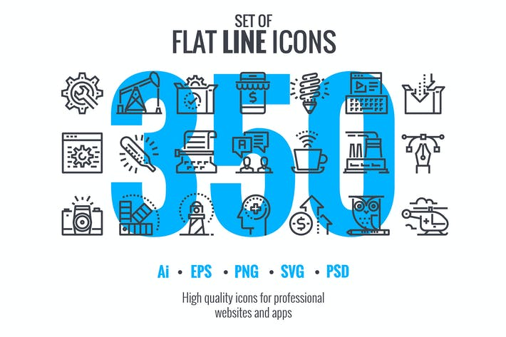 Thumbnail for These are big collection of Set flat line icons