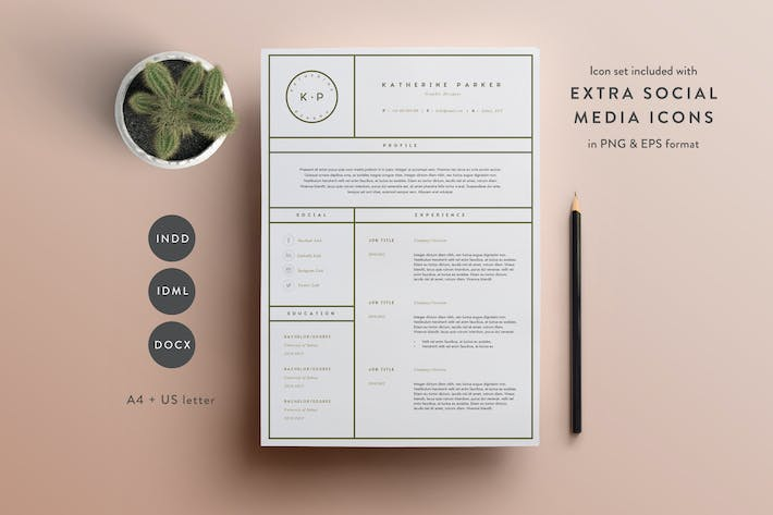 thumbnail for resume template 3 page cv template indd docx