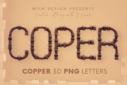 Kupferrohre - 3D Schriftzug
