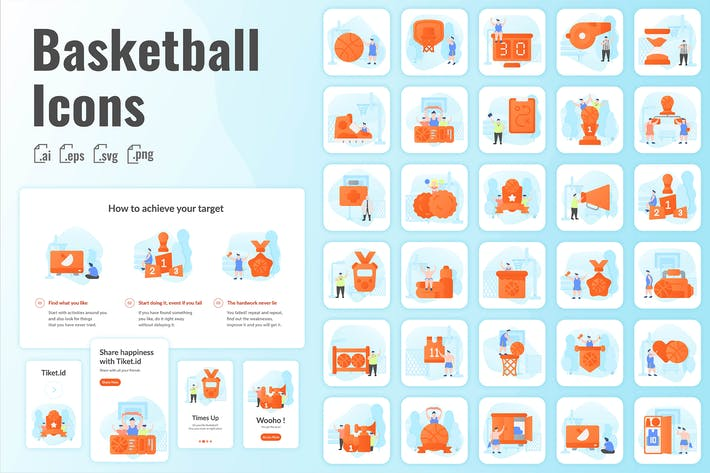 Thumbnail for 30 Iconset Basketball with Background