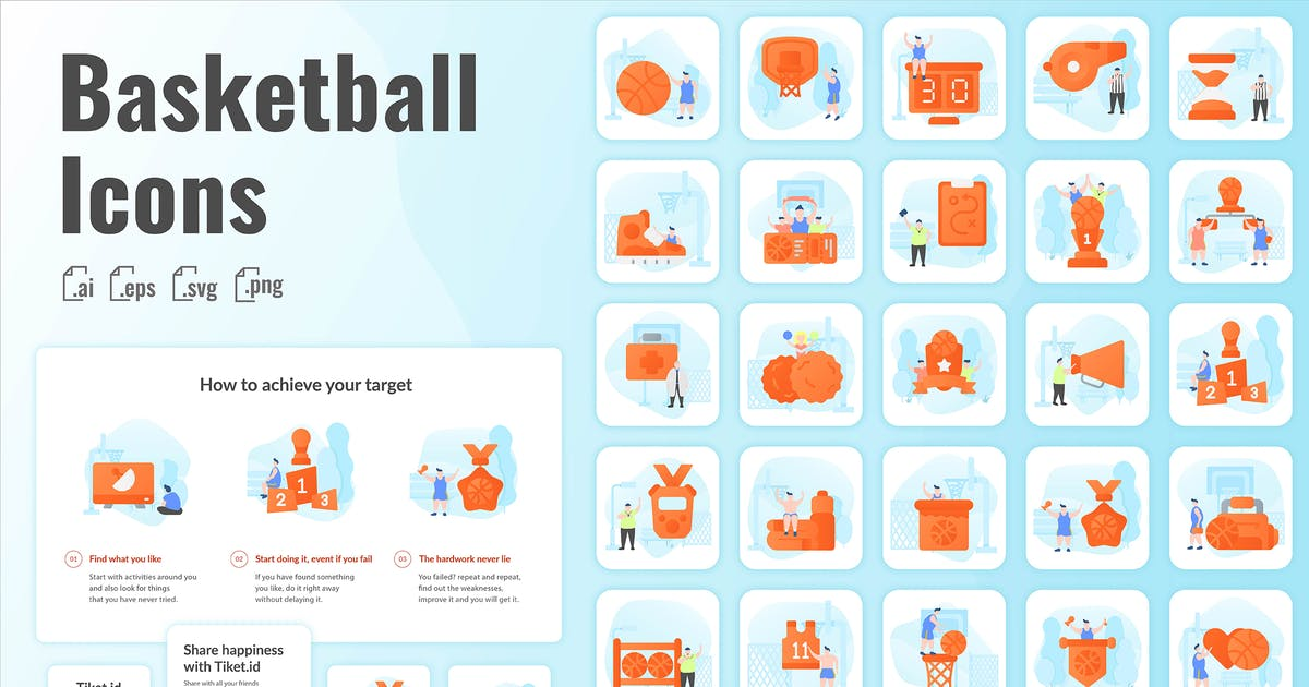 Download 30 Iconset Basketball with Background by SlideFactory