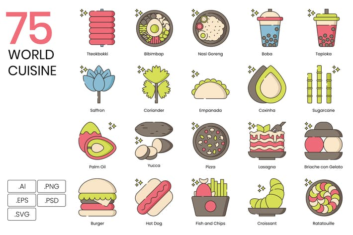 75 World Cuisine Icons - Hazel Serie