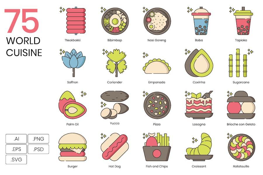75 World Cuisine Icons