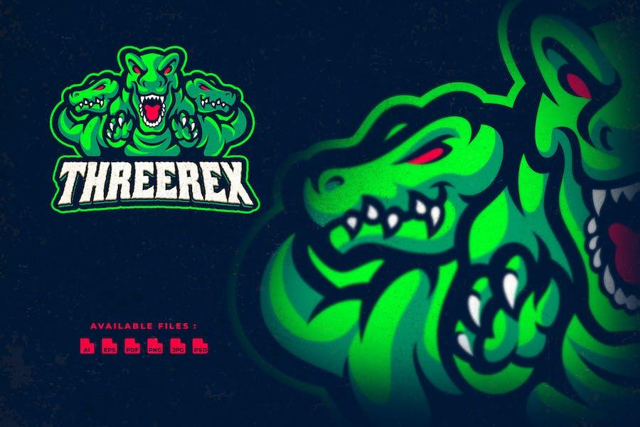 Three T-rex Character Logo