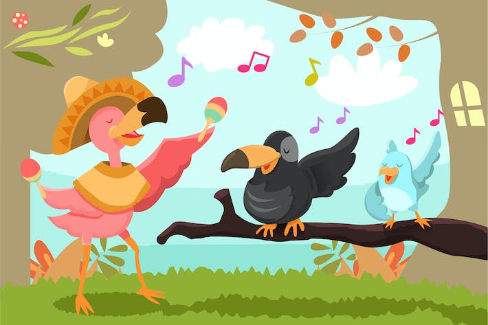 Cover Image For Cute Bird - Vector illustration