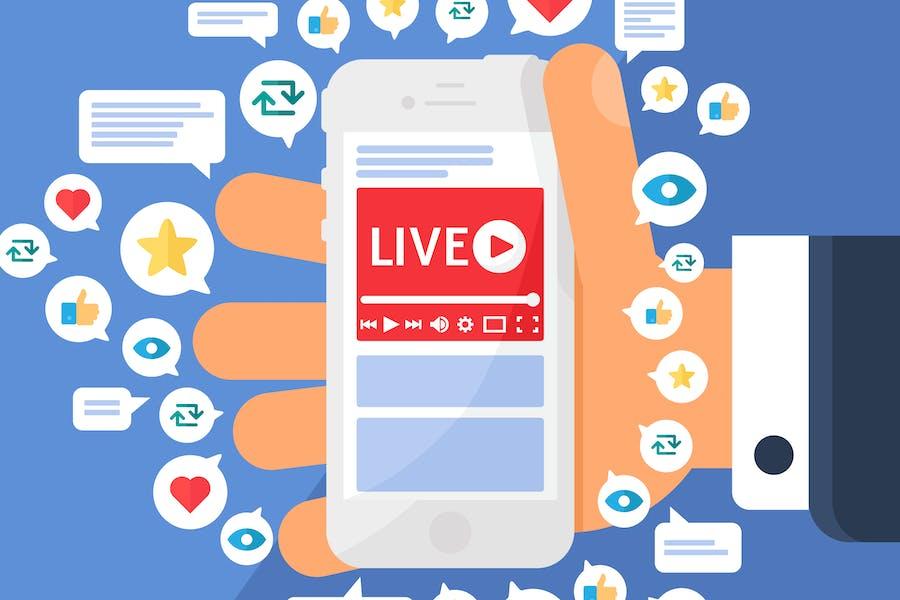 Mobile Live Stream Translation Illustration