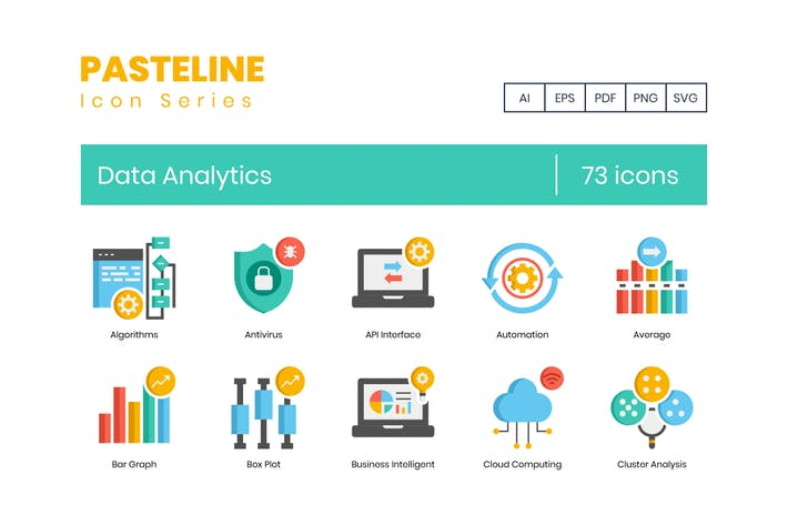 Thumbnail for 73 Data Analytics Icons | Pasteline Series