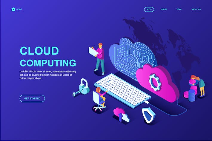 Cover Image For Cloud Technology Isometric Landing Page Template