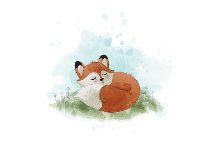 Thumbnail for cute sleeping fox vector