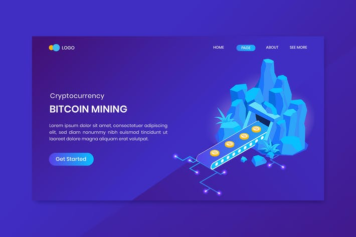 Thumbnail for Bitcoin Mining Isometric Concept  Landing