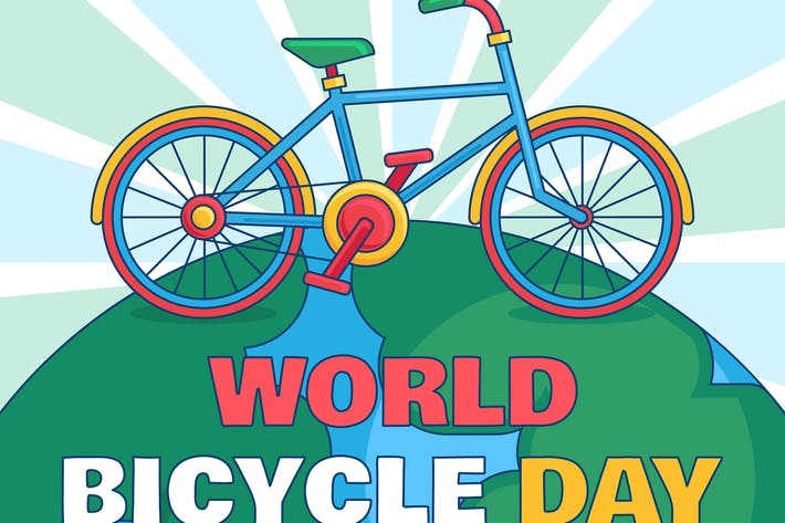 Thumbnail for World Bicycle Day With Earth Illustration