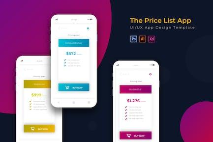 Price List | App Design Template