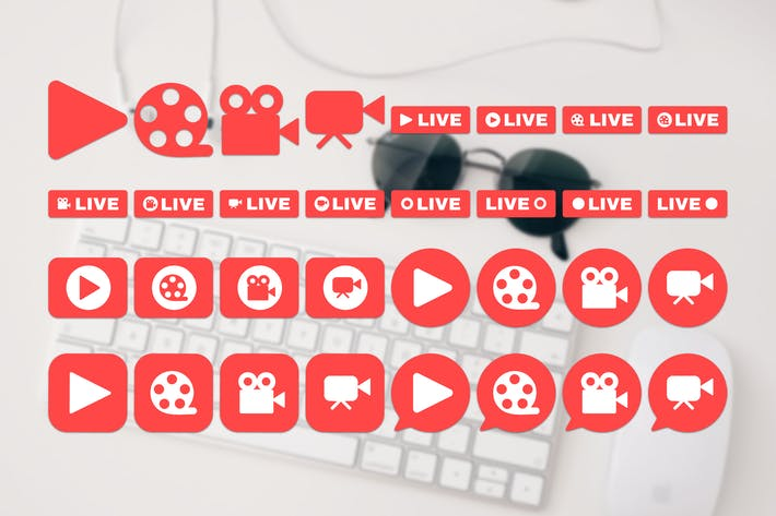 Thumbnail for Social Live Stream Icons Set