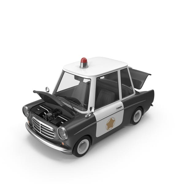 Cartoon Police Car Open Hood