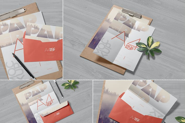 Thumbnail for 4 Realistic A4 Paper Mockups