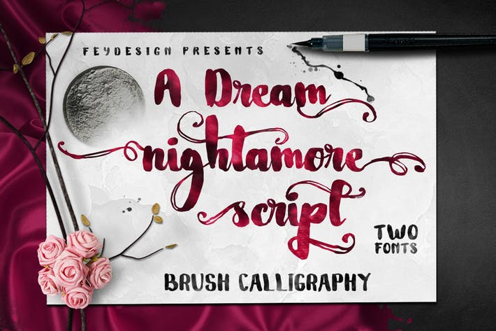 Thumbnail for Nightamore - Brush Font