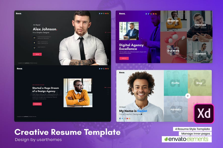 Roca - Creative Personal CV/Resume XD Template