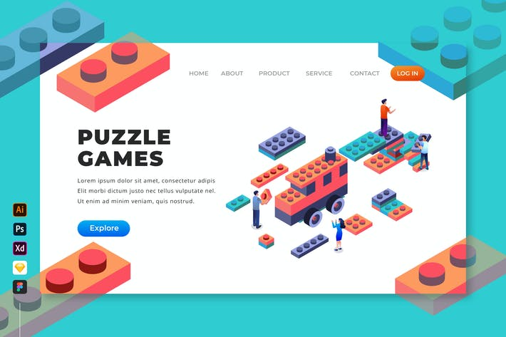 Thumbnail for Puzzle Games - Isometric Landing Page