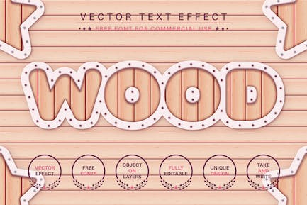 Wooden Plank - Editable Text Effect, Font Style