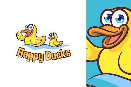 Cartoon Happy Toy Ducks Mascot Logo