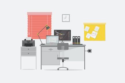 Programmer Workspace - Illustration Background