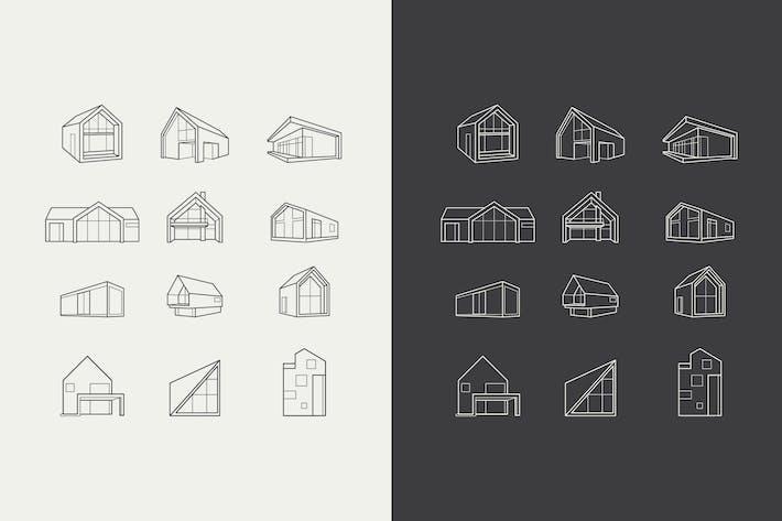 Vektor Logos von Icons mit Architekturhäusern