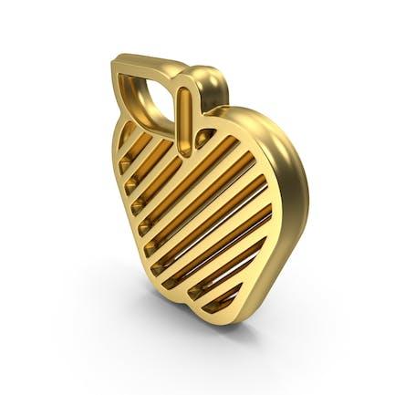 Icono del Logo del símbolo del diseño de Apple dorado