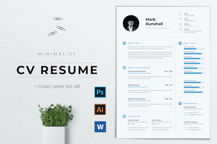 Thumbnail for Minimalist CV Resume Vol. 48