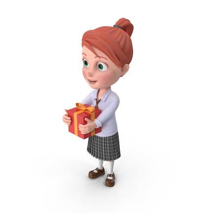 Cartoon Girl Grace with Present