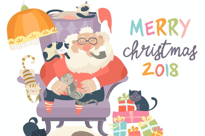 Thumbnail for Santa Claus sitting in armchair with cats. Vector