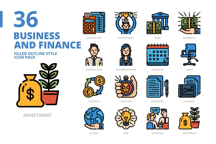 Thumbnail for Бизнес и финансы Заполненный стиль контура