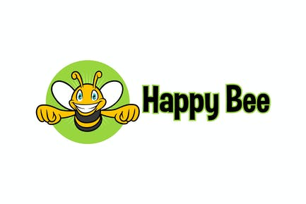 Happy Bee - Bee Character Mascot Logo