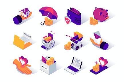 Isometrische Icons für soziale Sicherheit