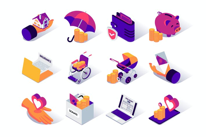 Thumbnail for Social Security Isometric Icons Set