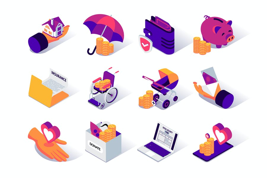 Social Security Isometric Icons Set