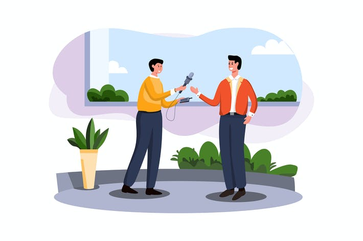 Thumbnail for Businessman giving interview Illustration