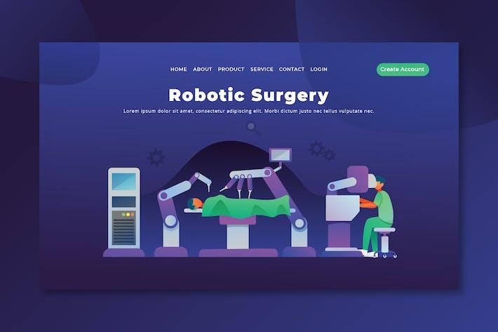 Chirurgie robotique - PSD et AI Vecteur Page de destination