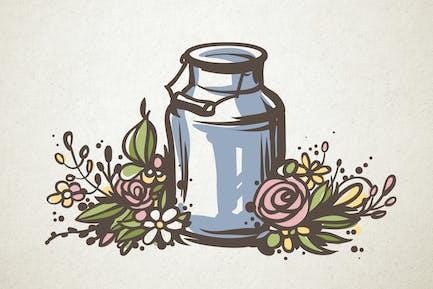 Milchkanne und Blumen