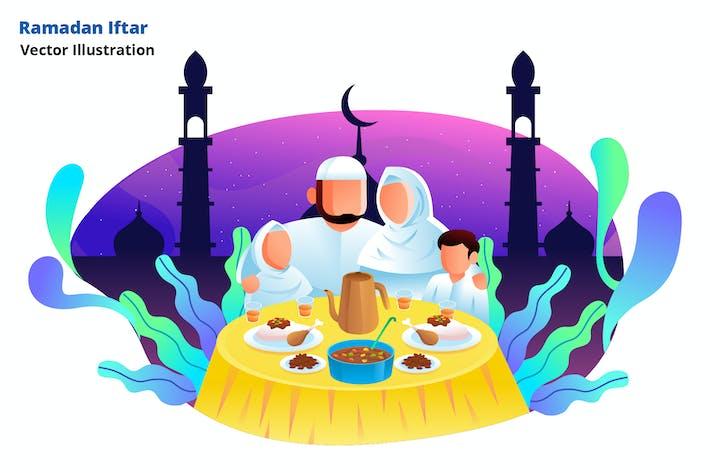 ramadan family - Vector Illustration