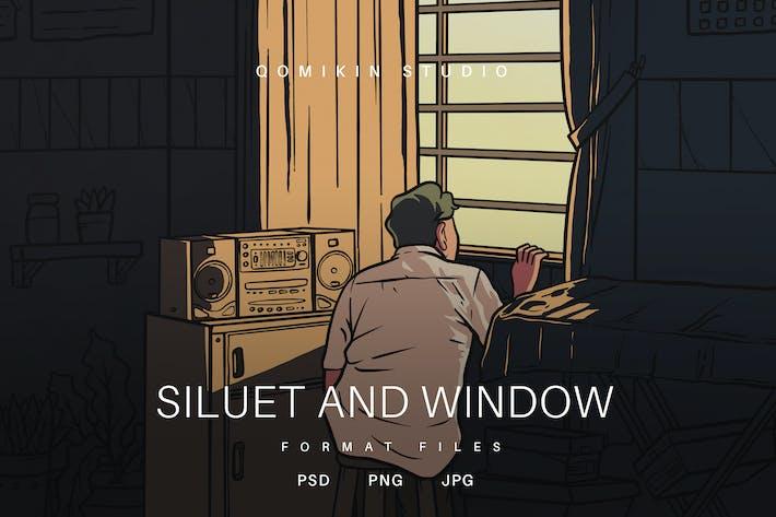 Silhouette und Fensterillustration