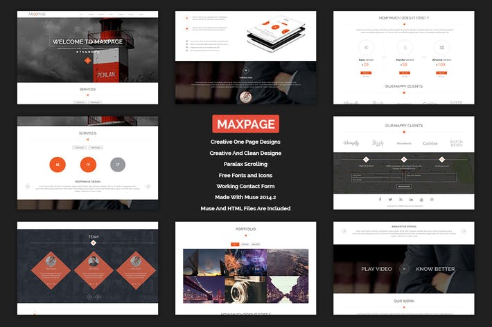 Thumbnail for Maxpage - One Page MUSE Template