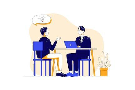 Job Interview Illustration concept