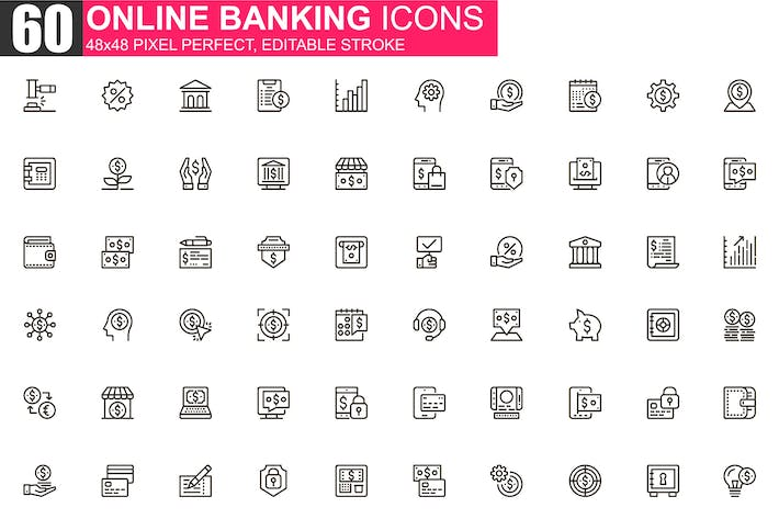Thumbnail for Online Banking Thin Line Icons Pack