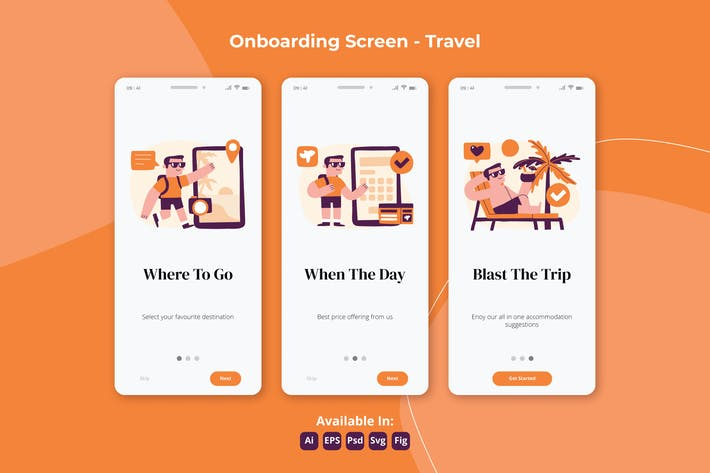Thumbnail for Travelling and Holiday apps Onboarding screens
