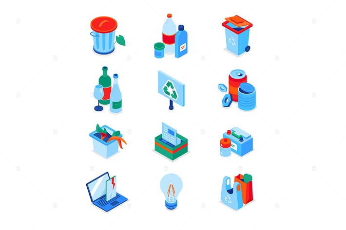 Thumbnail for Waste sorting - modern colorful isometric icons