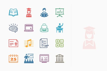 Education Icons Set 2 - Colored Series