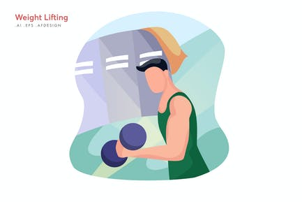 Weight Lifting Vector Illustration